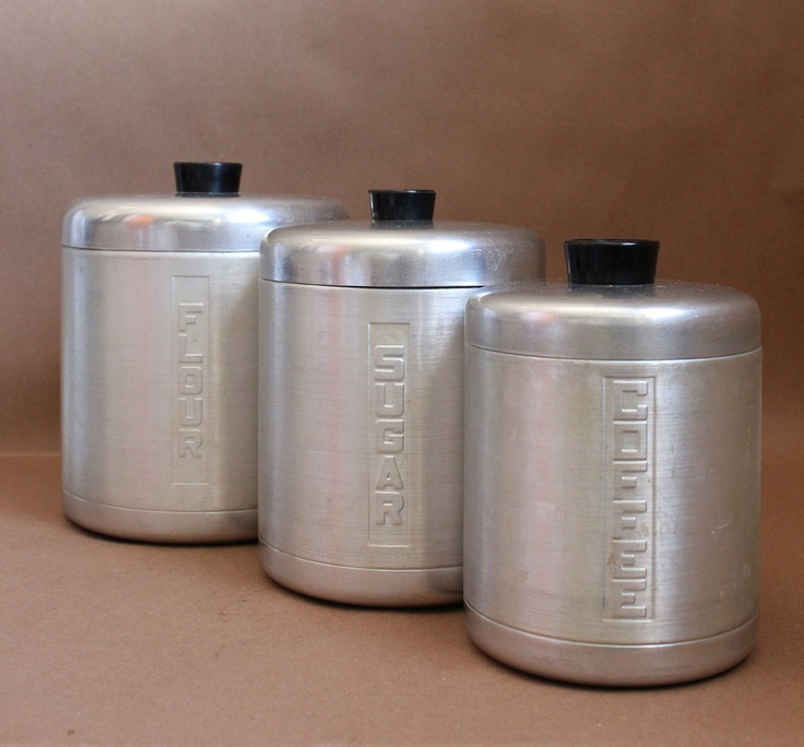 Aluminum ware vintage set of 3 canisters vintage kitchen for Toko aluminium kitchen set