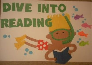 """""""Dive into Reading"""" is a popular title for a reading bulletin board display.  I love the boy snorkeling while reading a book that this teacher designed!"""