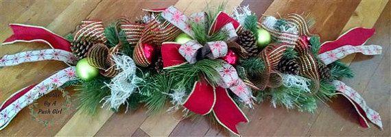 Burlap Swag Wreath,Christmas Swag, Holiday Swag, Burlap Deco Mesh Swag…