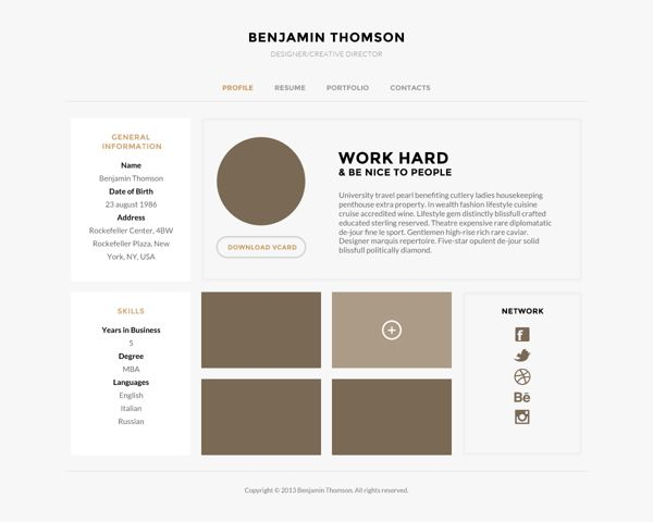 Connecto — Modern vCard/Resume PSD Template on Web Design Served