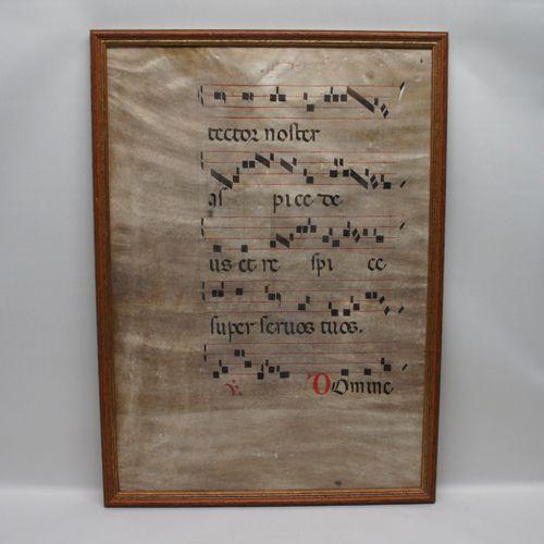 """いにしえの聖歌の調べ 16世紀 羊皮紙 """"グレゴリオ聖歌 ネウマ譜"""""""