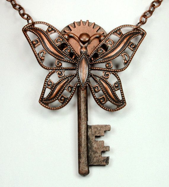 Steampunk Necklace Steampunk Vintage Key by VictorianCuriosities, $25.00