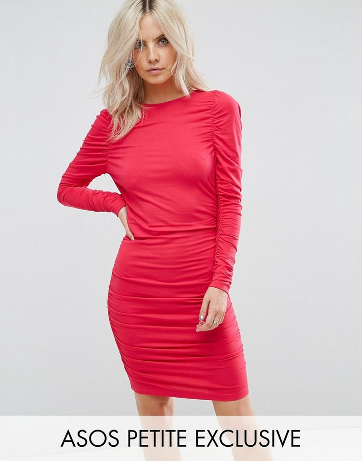 ASOS PETITE Ruched Mini Bodycon Dress with Long Sleeve - Pink