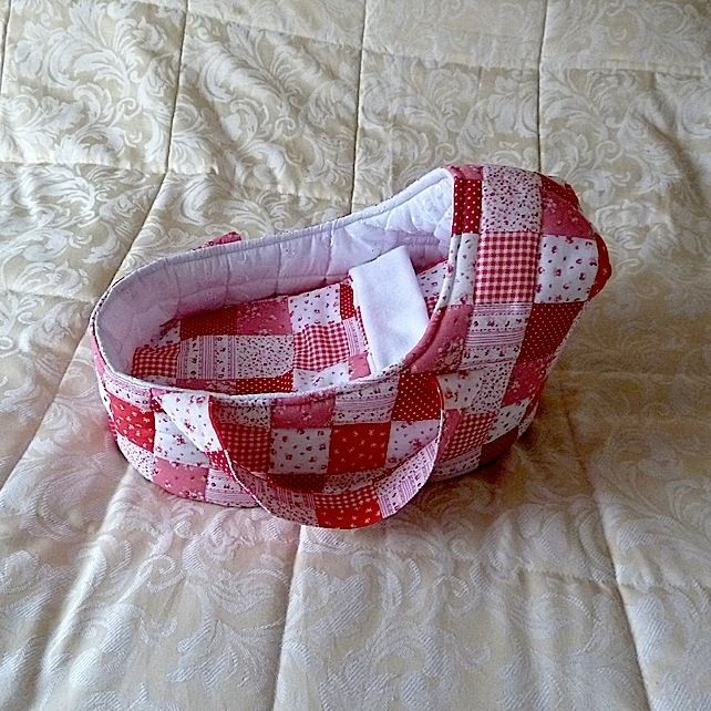 Doll's Carrycot with patchwork design suitable for 14 inch dolls £16.99