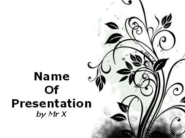 Black Designed Floral Pattern Powerpoint Template