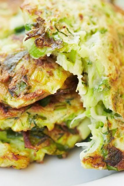 Crispy Zucchini and Potato Pancakes ~ It's really light with crazy amounts of savory flavor