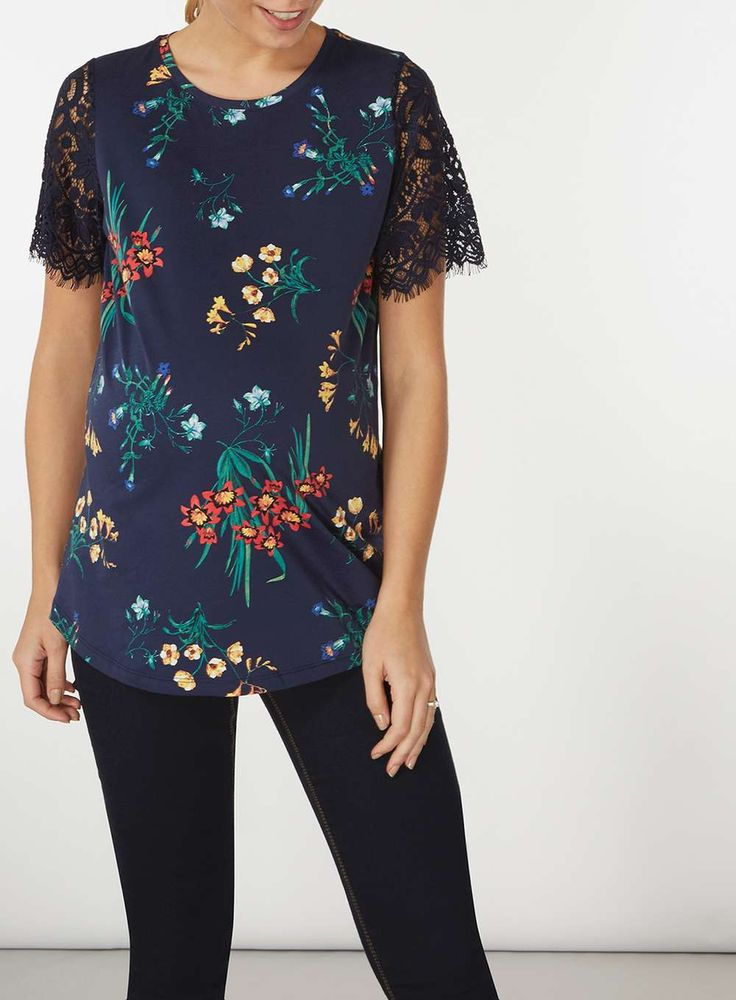 Womens **Maternity Multi Coloured Floral Lace T-Shirt- Multi Colour