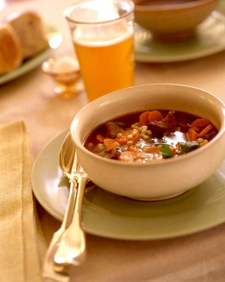 Beef Barley Soup...OMG!! This is so simple and delicious!! The whole family loved it!!! Just added a little celery and used 1/2 C of barley instead of the  1/4th...Awesome soup!!
