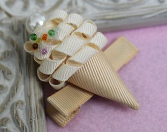 Ice Cream Cone Ribbon Sculpture Hair Clip. Ice by creationslove