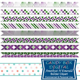These borders are in soothing jewel tones of amethyst and emerald, giving a feeling of richness. They can be used as borders for scrapbooks, journals, invitations, cards, newsletters, as website dividers, etc...