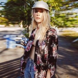 Fashion Ladies Women Casual Kimono Style Batwing Sleeve Floral Front Open Loose Beach Chiffon Cardigan Tops
