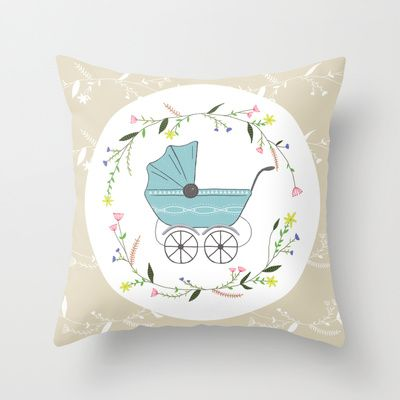 Vintage baby Throw Pillow by Babiole Design - $20.00