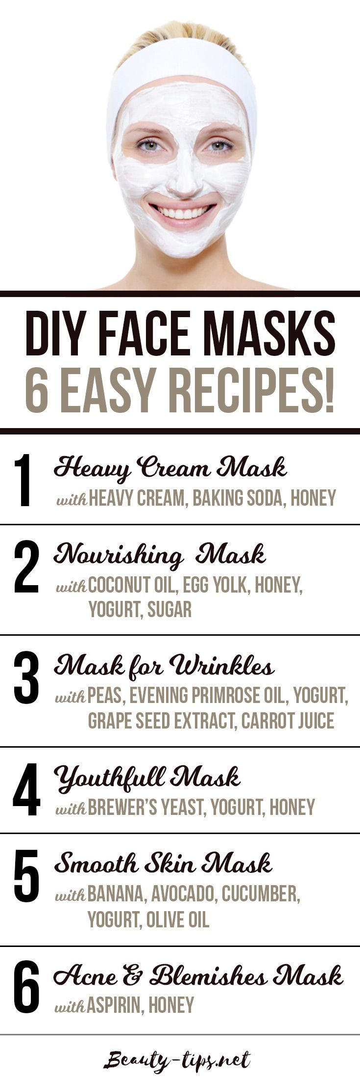 DIY Face Masks. 6 Simple, Homemade Face Mask Recipes. DIY Face Mask for Wrinkles, Acne, Blemishes and to nourish your facial skin: http://www.beauty-tips.net/homemade-face-masks-6-simple-diy-recipes/