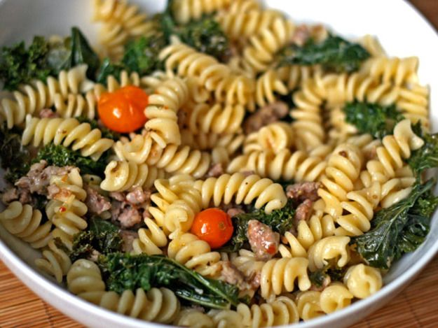 Dinner Tonight: Fusilli with Sausage, Kale, and Sungold Tomatoes   Serious Eats : Recipes
