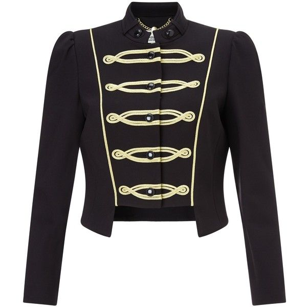 Somerset by Alice Temperley Military Jacket, Black ($245) ❤ liked on Polyvore featuring outerwear, jackets, cropped military jacket, military style field jacket, button jacket, embroidered jacket and military jacket