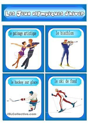 Les Jeux olympiques d'hiver (Vocabulaire). - Fiches FLE