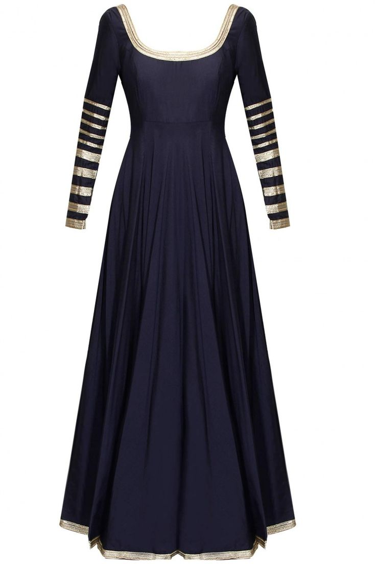 Navy blue embroidered anarkali suit available only at Pernia's Pop-Up Shop.