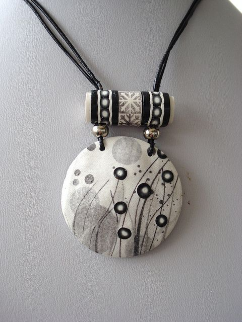 Nice Polymer clay.: Clay Necklaces, Beads Necklaces, Polymer Clay Jewelry, Black And White, Clay Beads, Bail Ideas, Black White, Nice Polymer, Polymer Clay Necklace