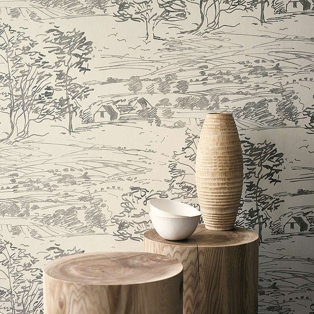 BuySanderson Sussex Downs Wallpaper, Ivory / Charcoal, 212432 Online at johnlewis.com