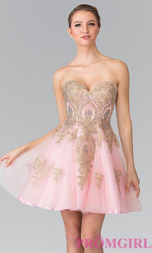 CHAMPAGNE - Strapless Corset Back Short Prom Dress