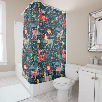 Lovely Llamas On Blue Shower Curtain
