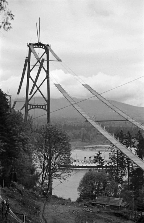 Lions Gate Bridge under construction in 1938, Vancouver, B.C