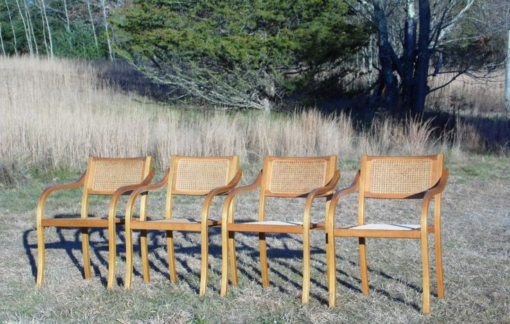 Vintage Mid Century Modern Set Of 4 Dining Bentwood Caned Arm Chairs  Thonet? #MidCenturyModern