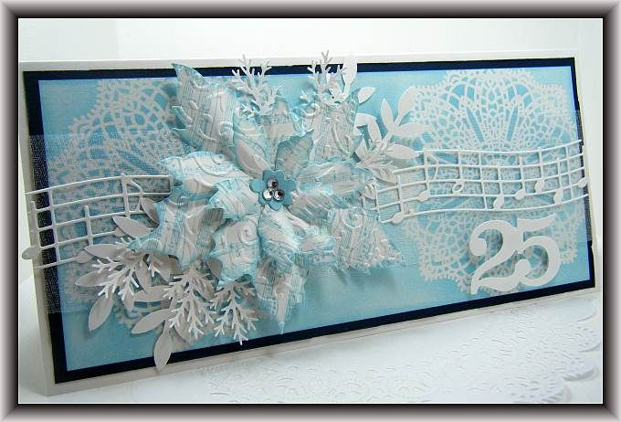 Spellbinders Doily Fun stamp paired with Memory Box Virtuoso Music and Tim Holtz Tattered Poinsettia dies :)