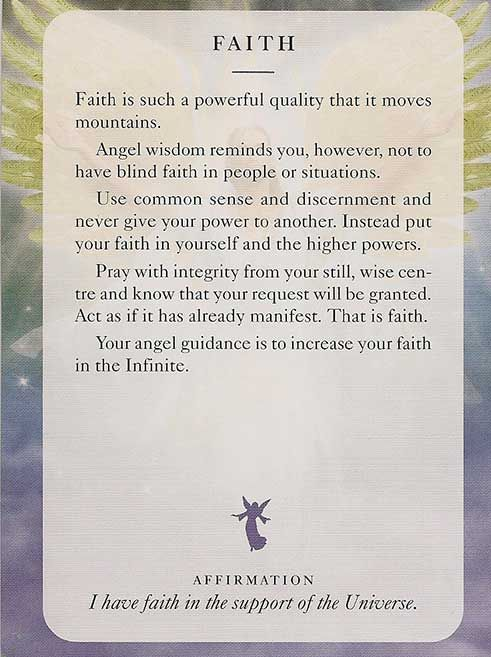 'Faith' - Angel Card – Diana Cooper