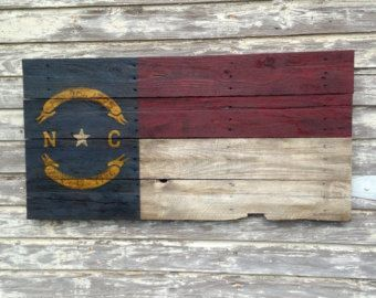 Rustic North Carolina State Flag on Reclaimed by SignsfromthePines