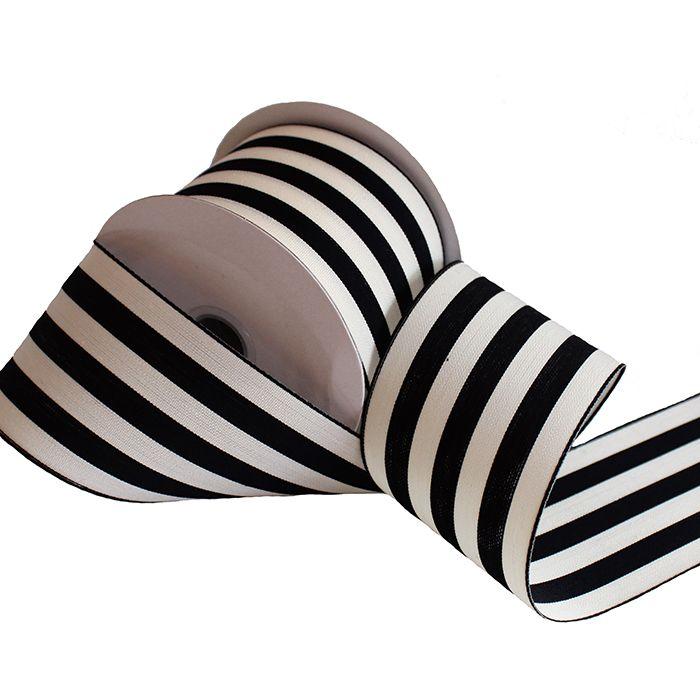 Black and Cream Stripe Ribbon | Wedding Ribbon | Hassle Free Shipping