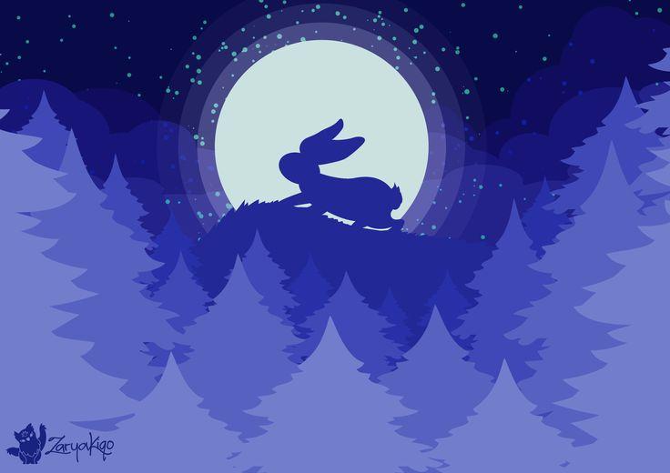 Rabbit moon howling at the full moon, digital vector art.