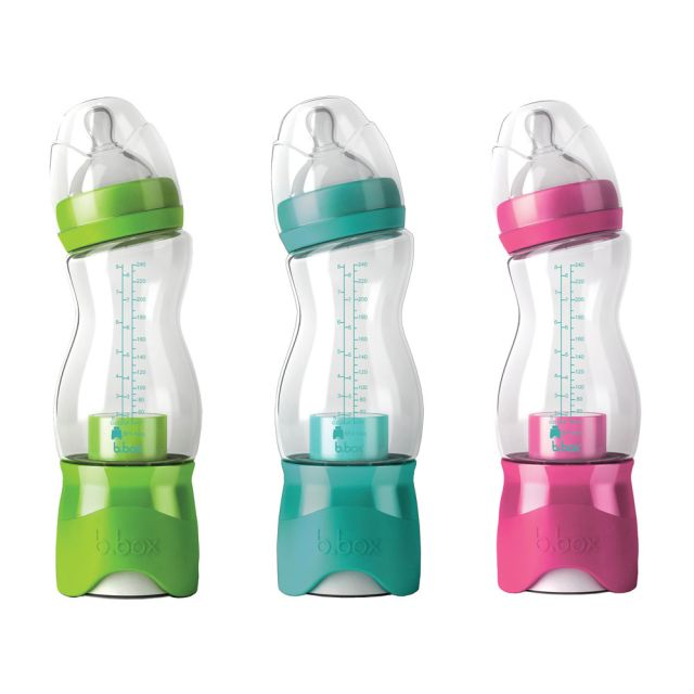 The b.box baby bottle. The formula is stored in a separate compartment on the bottle; when ready to feed, simply push the bottom on the bottle and the formula mixes with the water! The kit includes a bottle, a formula dispenser attachment, a conversion cap for use as a standard bottle, and a anti-colic nipple with cap.