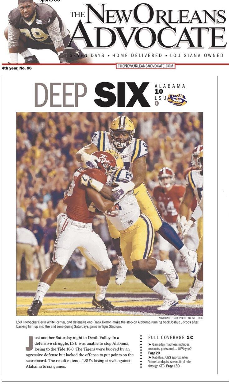 DEEP SIX - from The New Orleans Advocate front page following Alabama's 10 - 0 shutout of LSU  #Alabama #RollTide #Bama #BuiltByBama #RTR #CrimsonTide #RammerJammer #BAMAvsLSU