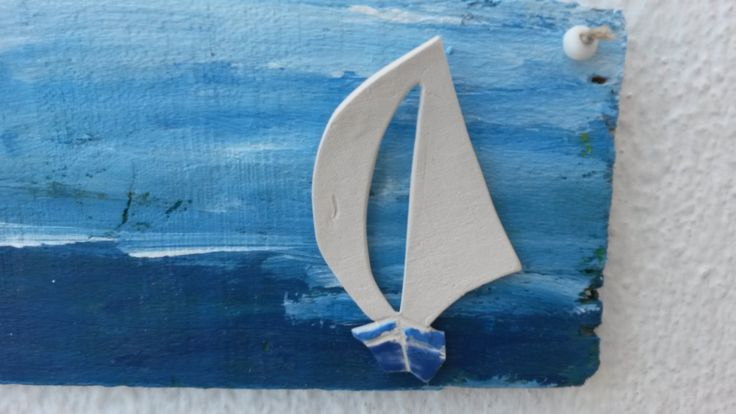 Handmade Driftwood Sign in Greek Blue with White Porcelain Sailboat, Sailboat Sign, Greek Sign, Beach House Sign, Nautical Sign, Greek Sail. by WillyaCollection on Etsy