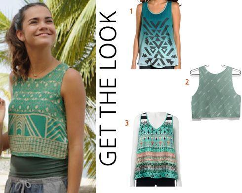 Teen Beach 2 movie: Mack's (Maia Mitchell) green, cage back crop tank top #teenbeach2 #tb2 #maiamitchell #disneychannel #getthelook