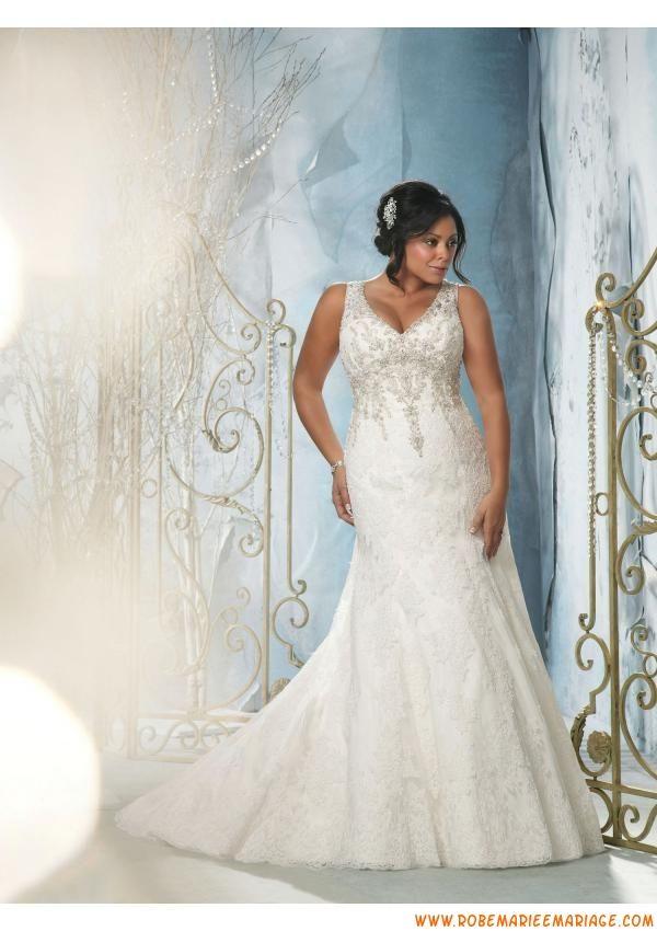 Robe de mariée sirène en dentelle grande taille