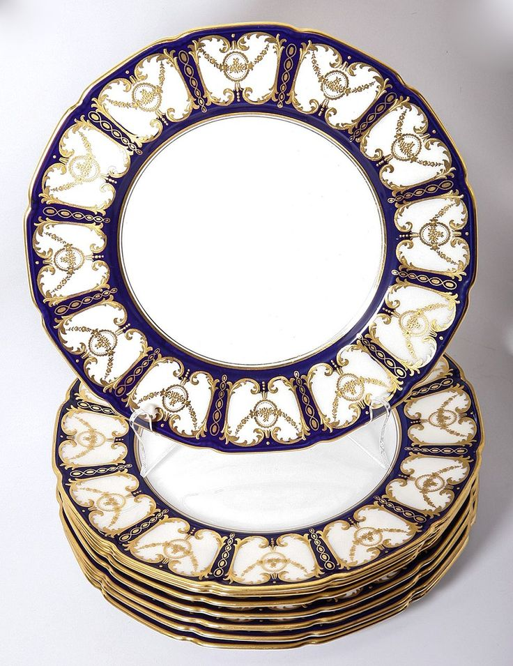 c.1921 Royal Doulton Dinner Plate Set (8) HP Encrusted Raised Gold  sc 1 st  Pinterest : dinner plates china - pezcame.com
