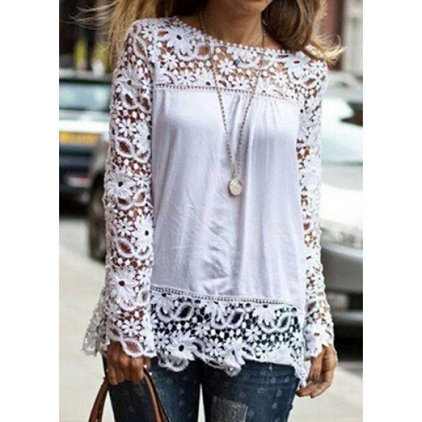 Wholesale Stylish Round Neck Long Sleeve Spliced Hollow Out Women's Blouse Only $3.83 Drop Shipping | TrendsGal.com