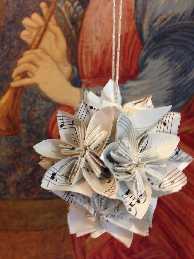 Folded paper flower from sheet music