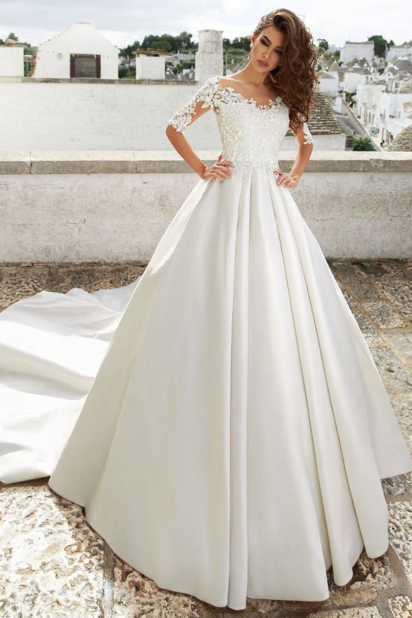 Easy Satin Jewel Neckline A-line Marriage ceremony Gown With Lace Appliques & 3D Flowers & Beadings