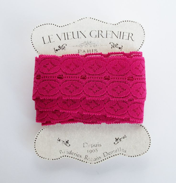 2 yards vintage dark pink lace, sewing supplies, elastic lace, crafting, haberdashery, costume, embellishment, sewing accessories. (L3) by LeVieuxGrenier on Etsy