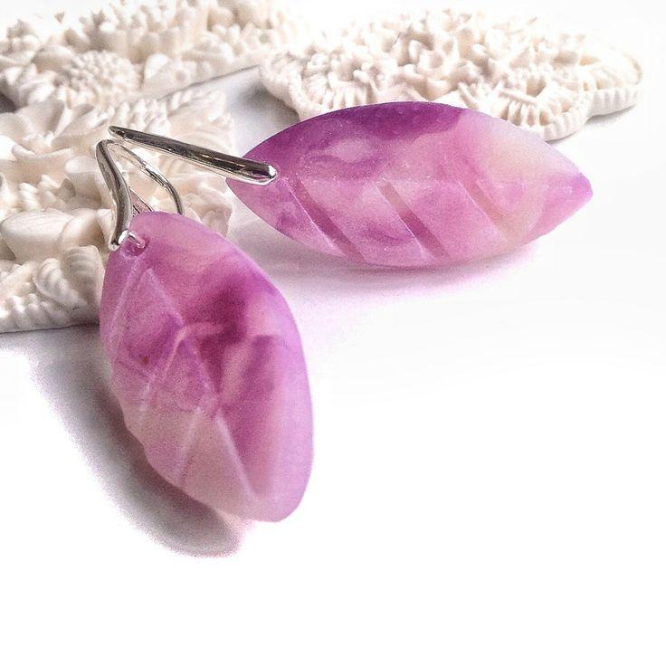 polymer clay leaf earring