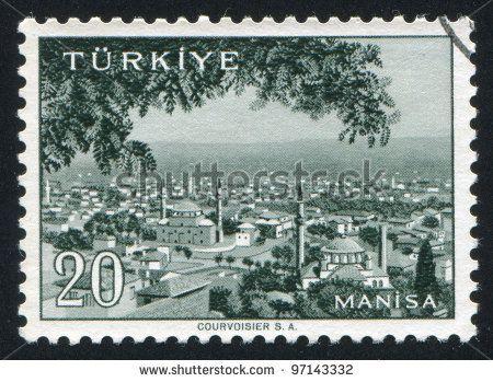 TURKEY - CIRCA 1959: stamp printed by Turkey, shows Turkish city, Manisa, circa 1959. - stock photo