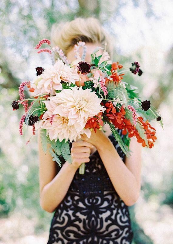 Ivory dahlia florals.