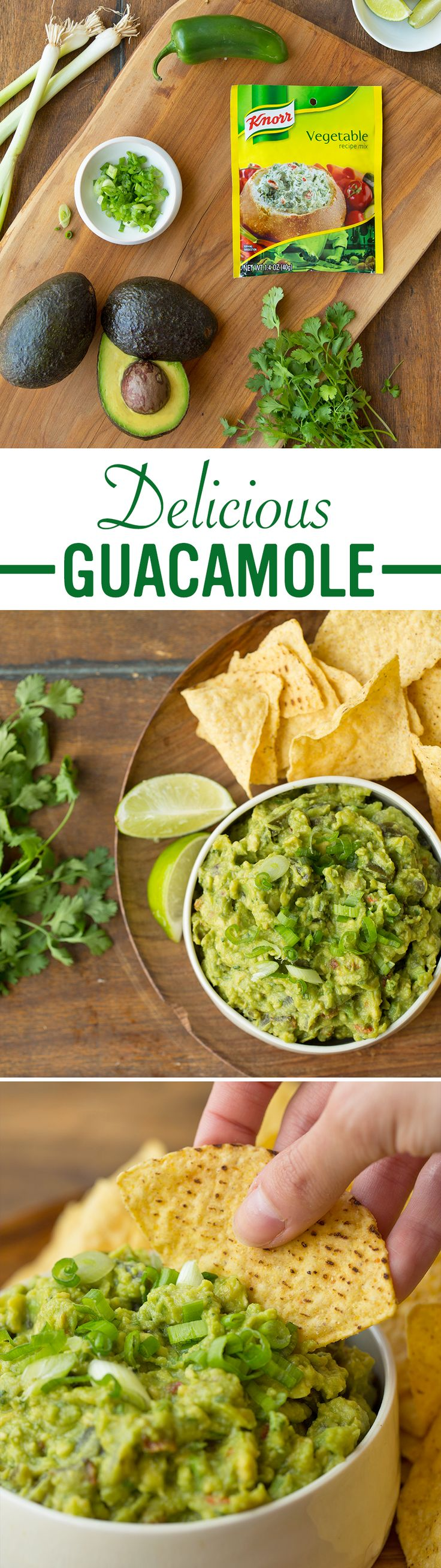 The best recipe for homemade Vegetable Guacamole is easy, delicious, and takes less than 30 minutes (half an hour) to make! 1. Combine medium mashed avocados, a cup of coarsely chopped canned jalapeno peppers, tablespoons of fresh cilantro, lime juice, and a package of Knorr® Vegetable recipe mix in a small bowl 2. Chill and garnish with diced green onion 3. Serve with tortilla chips or your favorite dippers.