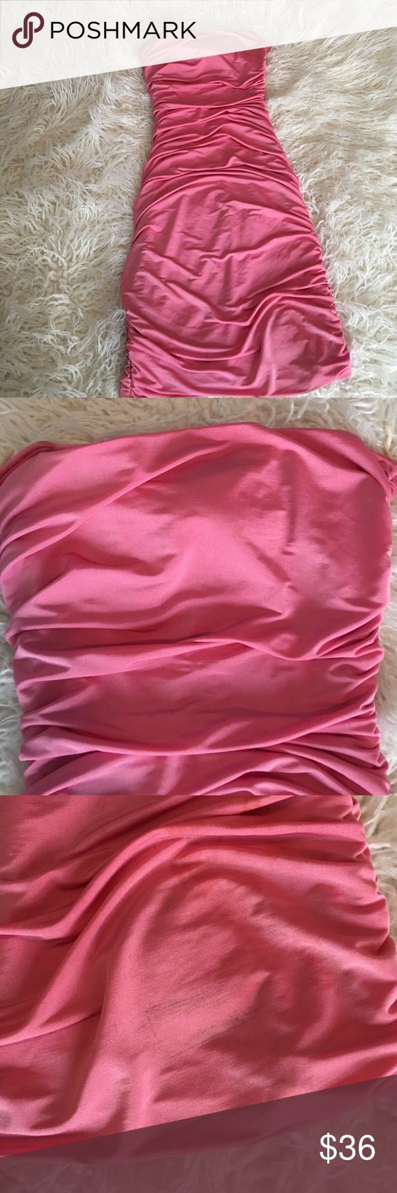 Shimmery pink bodycon dress 💕 ✨✨✨Beautiful pink party/going out dress. Size S. Good condition. The shape of this dress will accentuate your figure! Cinched down the back & on the sides. A few small marks (can be seen in picture) that will come out after a dry clean/wash! It is unstitched in a small area below the padding on inside) , it can be easily fixed. (as seen in pic) ✨✨✨ Charlotte Russe Dresses Mini