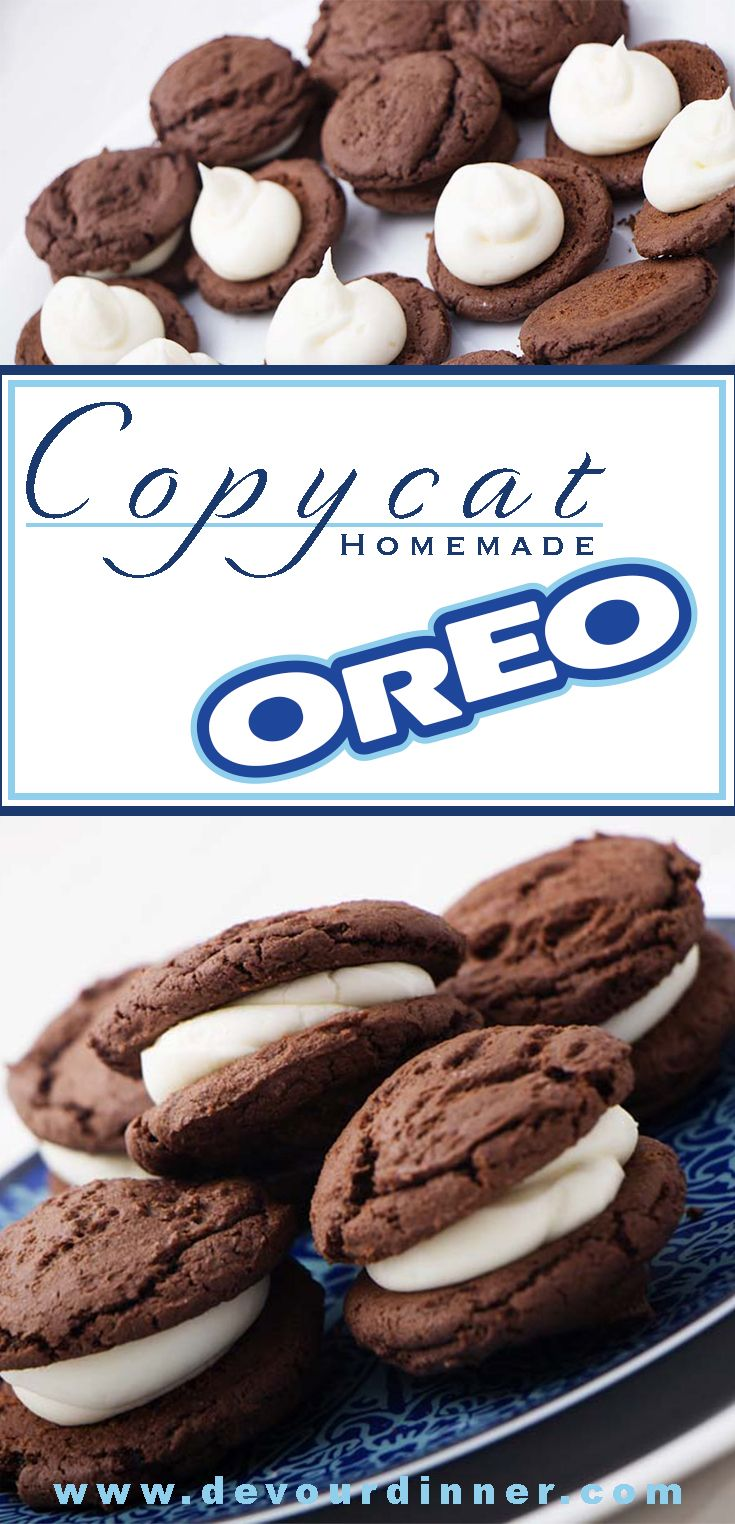 Copycat Homemade Oreo Recipe | Devour Dinner.  Full of the rich chocolate flavor you have grown to love filled with a thick rich filling.  This is a wonderfully delicious recipe. #devourdinner #recipes #recipe #food #Foodie #Foodblogger #easyrecipes #dinner #appetizer #Sidedish #dessert #yummy #dessert #cookiie #Oreo #copycat #copycatrecipe #homemade #buzzfeast