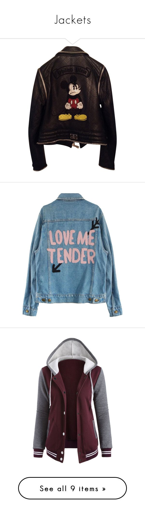 """""""Jackets"""" by merel-van-tienen ❤ liked on Polyvore featuring outerwear, jackets, tops, leather zip jacket, lined leather jacket, embroidered leather jacket, zipper jacket, zip jacket, blue jean jacket and blue denim jacket"""