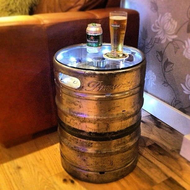 Lighted Beer Keg Table might be a nice way of bringing some ambient lighting in. Save your leftover keg, add some LED's or Christmas lights, have a piece of glass or clear plastic cut to fit over the hole.
